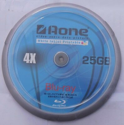 Aone Blu Ray Blank Discs Full Face White Printable 25GB BD-R 10 PACK SPINDLE • 6.25£
