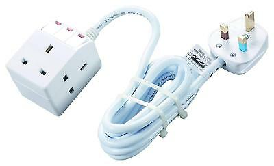 Masterplug Indoor 3 Socket Switched 2M Extension Trailing Lead Neon SWG32C-MS • 17.70£
