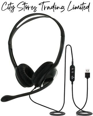 Noise Cancelling Usb Headset With Microphone Zoom Skype MS Teams - Eartec 150D • 24.85£