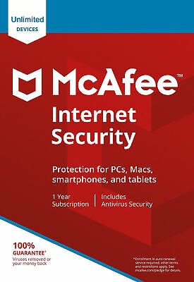 McAfee Internet Security 2021 Ten 10 Devices Users 1 Year NEW & RENEW • 7.75£