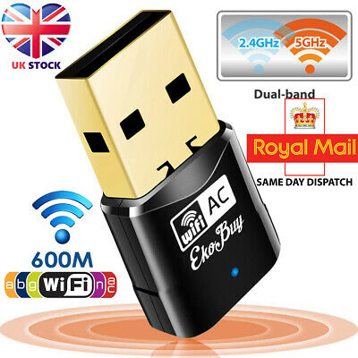 600 Mbps 2.4-5ghz USB Dual Band Wireless Adapter WiFi Dongle 802.11 AC Laptop PC • 6.29£
