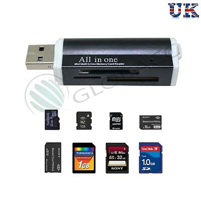 All In One All In 1 USB Memory Card Reader Adapter For Micro SD MMC SDHC TF M2 • 3.99£