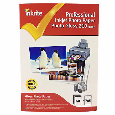 Inkrite Photo Plus Professional Paper Photo Gloss 210gsm 7x5 (50 Sheets) • 4.20£