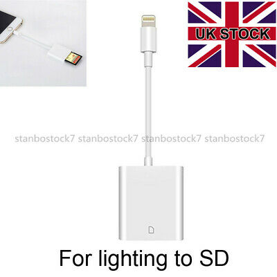 Lightning To SD Card Reader Camera Adapter For Apple IPhone 6s/7/8/X IPad Air UK • 7.99£