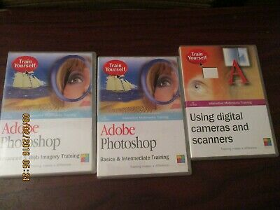 Train Yourself Adobe Photoshop PC Software CD Roms - Basic - Advanced,  • 6.99£