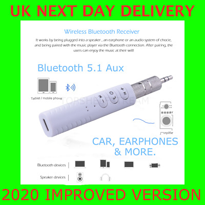 Bluetooth 5.1 AUX Receiver 3.5mm Phone Car Stereo Earphones Adapter With Mic • 5.99£