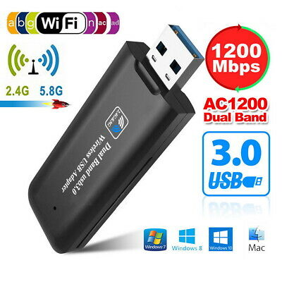 1200Mbps USB WiFi Dongle 3.0 Dual Band Wireless Network Adapter For Laptop PC • 9.99£