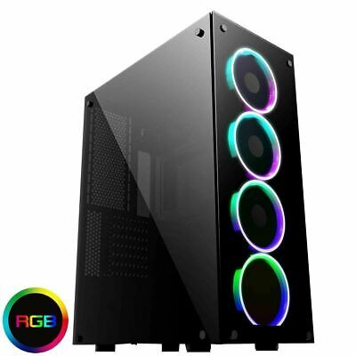 Game Max Predator RGB Full Tower ATX Gaming PC Case Tempered Glass LED Fans EATX • 89.99£
