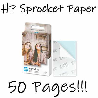 50 X HP Sprocket ZINK Sheets Sticky Back Photo Paper For Sprocket Printers NEW • 19.99£