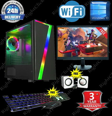 ULTRA FAST  I5 I7 Desktop Gaming Computer PC 2TB 16GB RAM GTX 1660 Windows 10 • 419.99£