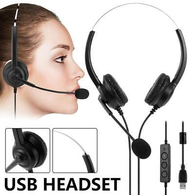 USB Headset Computer Headphones Noise Cancelling MIC For PC Laptop Phone UK • 15.99£