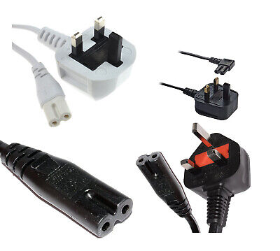 UK 3 Pin Plug To Fig 8 C7 Power Lead Mains Figure Eight BS1363 Cable 0.5M 2M 5M • 4.95£