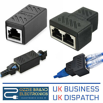 RJ45 Splitter Adapter LAN Ethernet Cable 1-2 Way Dual Female Port Connector Plug • 4.25£