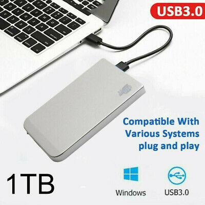 1TB USB3.0 External Hard Drive Disks HDD 2.5'' Fit For PC Laptop Silver Portable • 25.59£