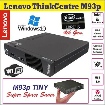 Lenovo ThinkCentre M93p Intel Core I5-4570T Micro Desktop PC 2.9GHz Wi-Fi Win10P • 259.99£
