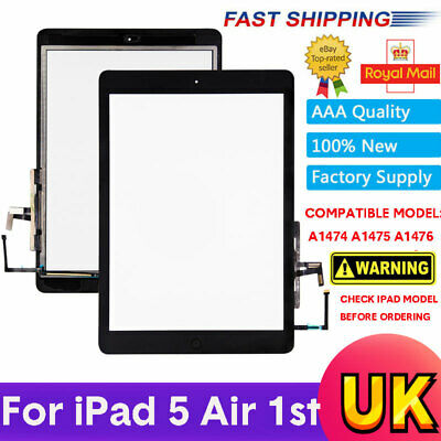 For IPad 5 Air 1st A1474 A1475 A1476 Black Touch Screen Glass Digitizer W Button • 10.69£