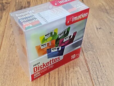 10 Imation Neon Diskettes 2HD IBM Formatted 1.44MB 3.5  Floppy Disks New & Seale • 16£