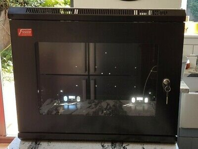 Fusion 9U Data Cabinet With 48 Port Patch Panel. Good Used Condition. • 0.99£