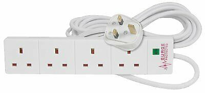 Pro Elec 4 Gang 8m Extension Lead With Surge Protection - White • 16.75£