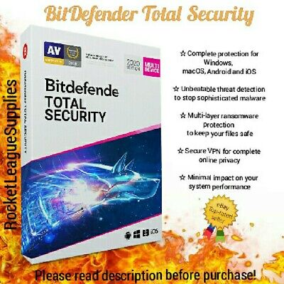 BitDefender Total Security 2020/2019 Activation Code Key 3/6/12 MONTHS - 1 YEAR • 1.99£