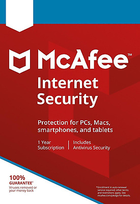 McAfee Internet Security 2020 Anti Virus Software 1 Year 10 Devices - New • 8.75£
