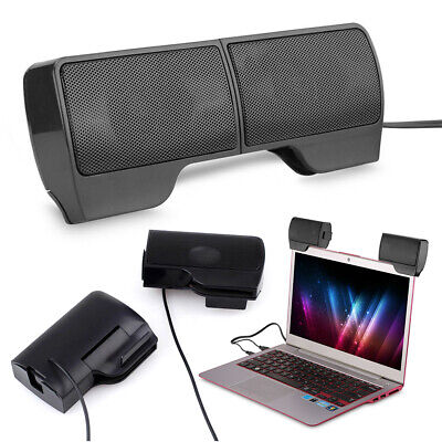 USB Clip-On Computer Sound Bar Stereo Laptop Desktop PC Notebook Speakers Hot • 9.25£