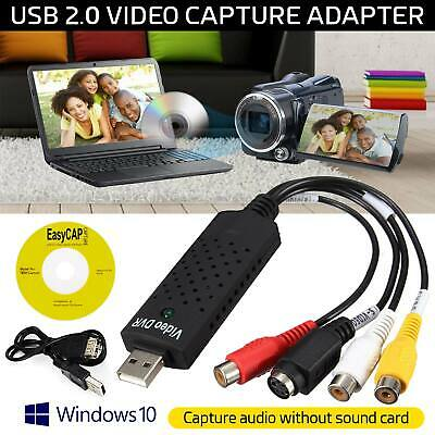 VHS VCR To Digital Converter USB 2.0 Video Capture Card For XP Vista Win 7/8/10 • 6.25£