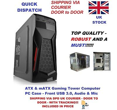 ATX & MATX Gaming Tower Computer PC Case - Front USB 3.0, Audio & Mic UK Seller • 22.90£