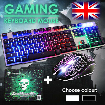 Gaming Keyboard And Mouse Set Rainbow LED Wired USB For PC PS4 Xbox One And 360 • 12.99£