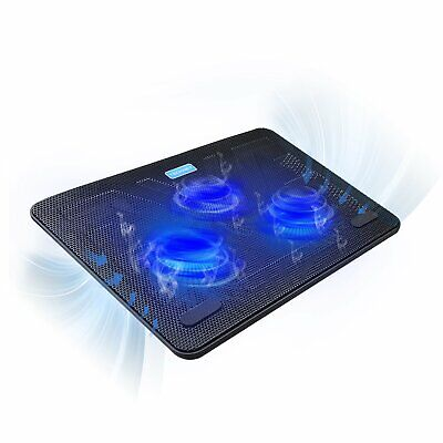 TECKNET 12 -17  Quiet Laptop Cooler Cooling Pad Stand With 3 USB Powered Fans, • 28.99£