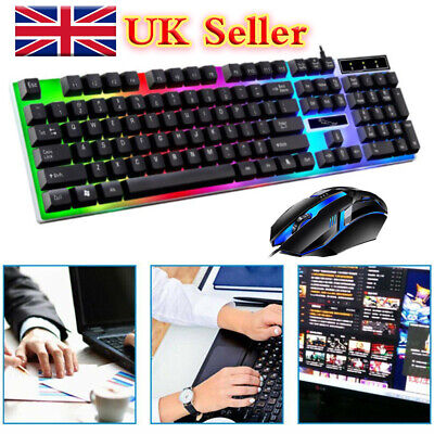 Gaming Keyboard Mouse Set Rainbow LED Wired USB For PC Laptop PS4 Xbox One 360. • 9.49£