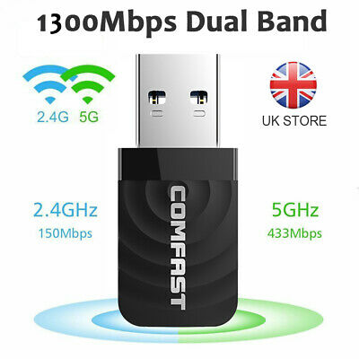 1200Mbps USB 3.0 Wireless WiFi Network Receiver Adapter 5GHz Dual Band Dongle UK • 8.99£