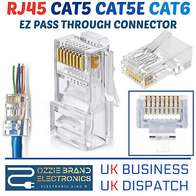 EZ RJ45 Pass Through Connectors 8P8C Crimp End Plug Network Lan Cable CAT5e CAT6 • 2.70£