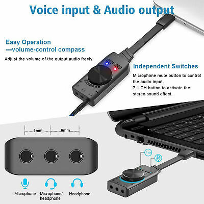 USB External Surround Sound Card Audio Adapter 7.1ch 3.5mm Drive For PC/PS4 • 11.43£
