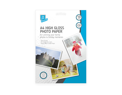 A4 HIGH GLOSS 230gsm QUICK DRYING INJEKT PRINTERS BRIGHT GLOSSY PHOTO PAPER • 2.49£
