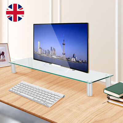 Large Clear Twin Monitor Riser Stand For TV PC DVD Double Screen Desk • 22.99£