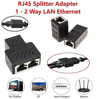 RJ45 Splitter Adapter LAN Ethernet Cable 1-2 Way Dual Female Port Connector Plug • 2.49£
