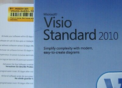 Microsoft Visio Standard 2010 Product Key - Full Version RETAIL D86-04140 • 39.99£