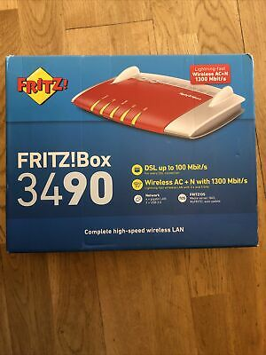 AVM FRITZ!Box 3490 WiFi 802.11ac+n Wireless Modem Router, Excellent, Boxed • 35£