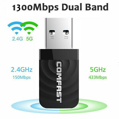 1300Mbps USB 3.0 Wireless WiFi Network Receiver Adapter 5GHz Dual Band Dongle • 9.99£
