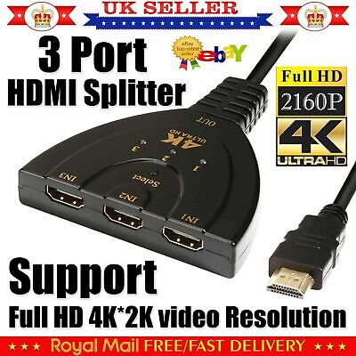 4k 3 Port Hdmi Splitter Cable Multi Switch Switcher Hub Box Lcd Hdtv Ps3 Xbox • 5.49£