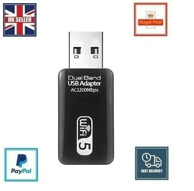 1200Mbps USB 3.0 Dual Band WiFi Dongle 5.8GHz/2.4G Wireless Network Adapter • 8.99£