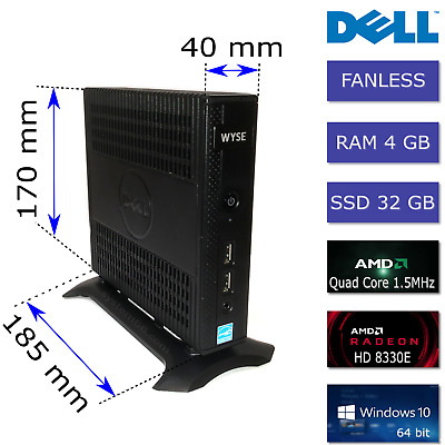 Dell AMD Quad Core 1.5GHz 4GB RAM 32GB SSD WYSE Dx0Q 5020 Fanless Mini PC + PSU • 55£