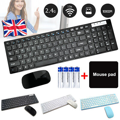Wireless Keyboard And Mouse Combo Set Ultra Slim 2.4GHz Kit USB Receiver For PC • 14.99£