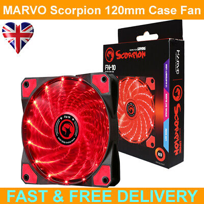 Marvo Scorpion FN-10 Red 120mm 1200RPM Red LED Fan (3pin/4pin) • 5.99£
