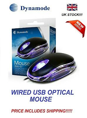 Wired Usb Optical Mouse For Pc Laptop Computer Scroll Wheel - Black Uk • 4.05£