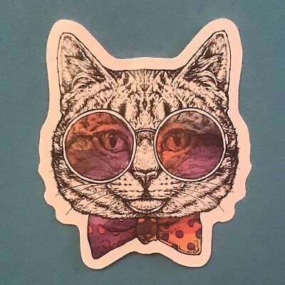 Funky Colourful Cartoon Cat Stickers Cats In Funny Outfits Waterproof • 2.99£