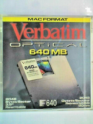 VERBATIM REWRITABLE 3.5  640Mb MAGNETO-OPTICAL DISK - MAC FORMATTED - SEALED • 10£