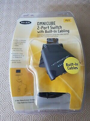 Belkin OMNICUBE 2 Port Switch And Cables • 2.50£