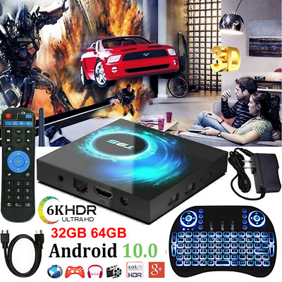 T95 Android 10.0 TV Box Quad Core 32/64GB HD Media Player WIFI HDMI Keyboards UK • 49.79£